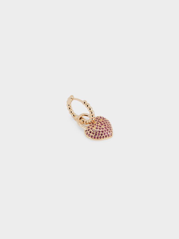 Short Hoop Earrings With Heart, Pink, hi-res
