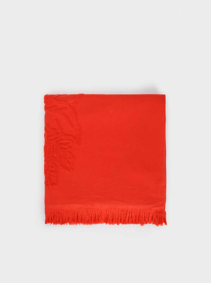 Cotton Beach Towel With A Leaf Print, Coral, hi-res