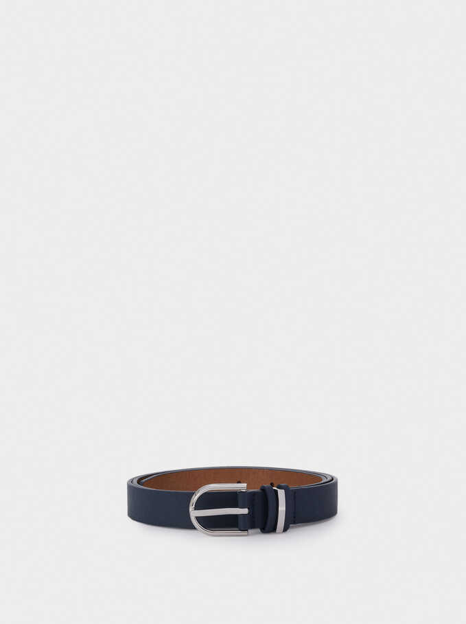 Narrow Belt With Silver-Plated Buckle, Navy, hi-res