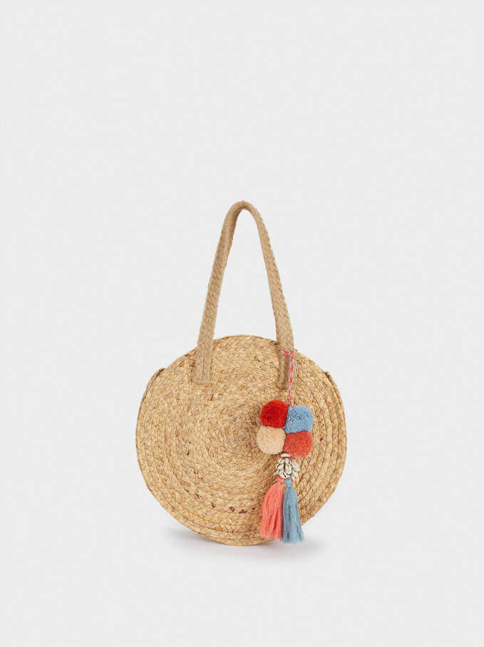 Raffia Textured Shopper Bag, Beige, hi-res