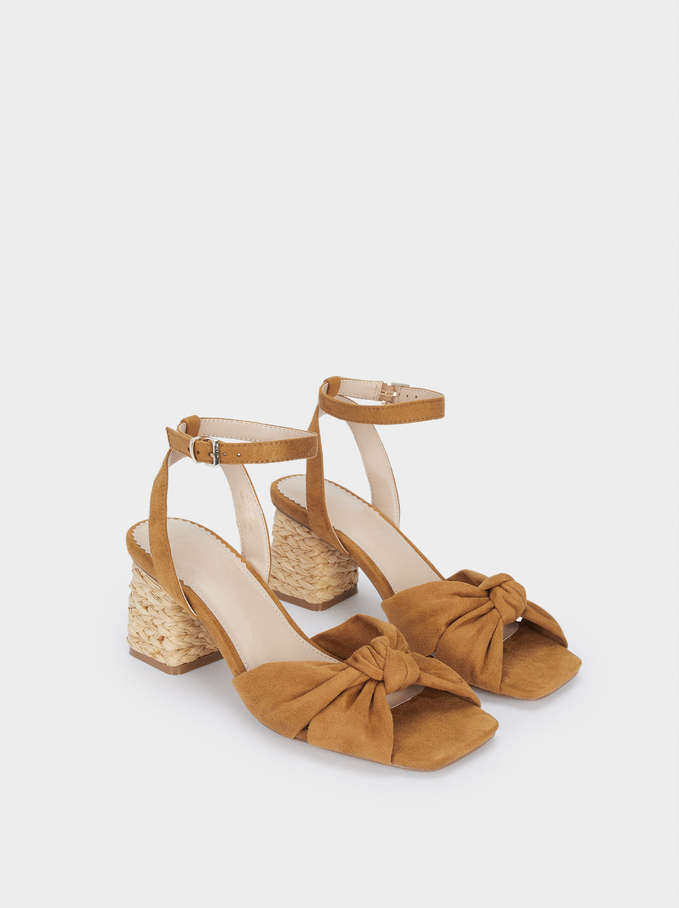 Raffia Mid-Heel Sandals, Camel, hi-res