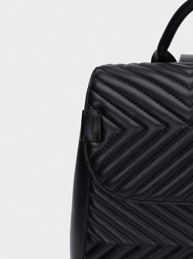 Quilted Backpack With Front Flap Closure, Black, hi-res
