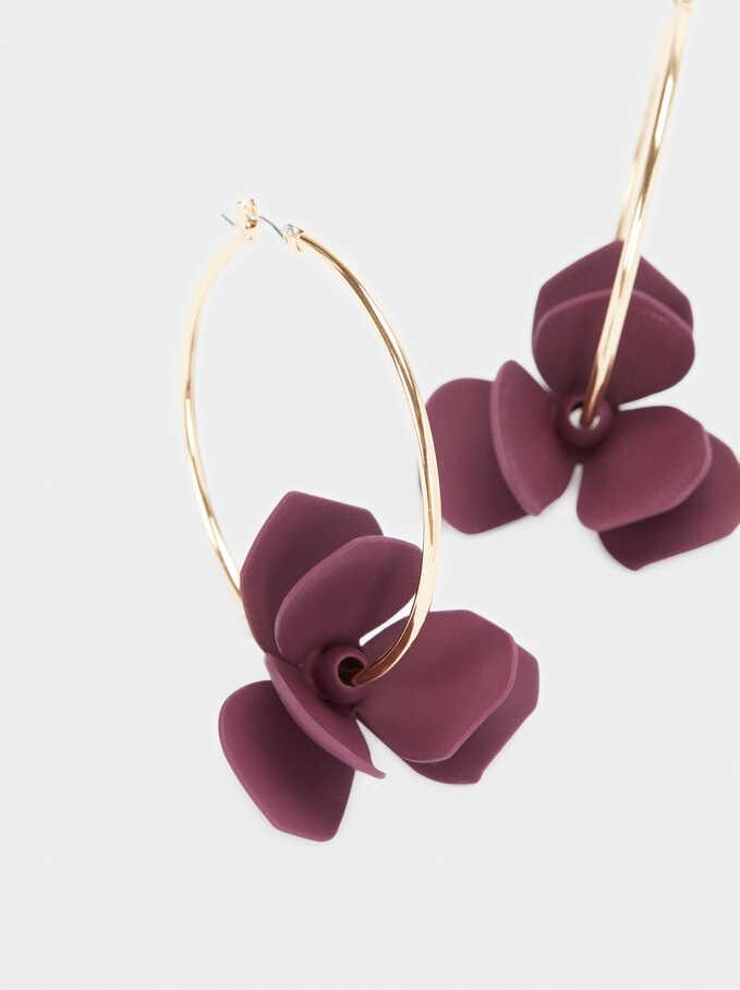 Watercolor Large Hoop Earrings With Flower, Violet, hi-res
