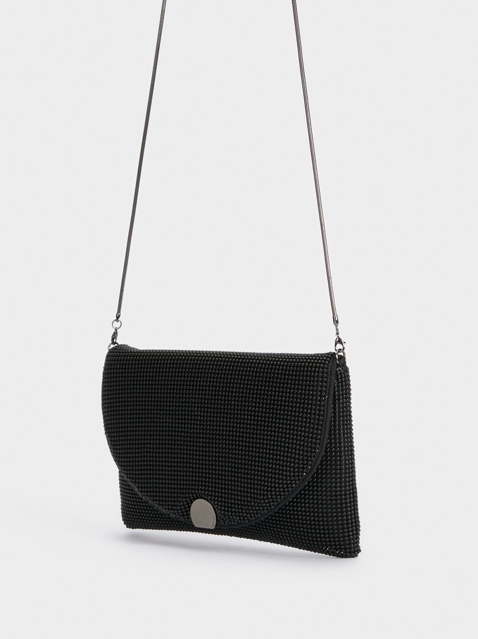 Mesh Fabric Evening Crossbody Bag, Black, hi-res