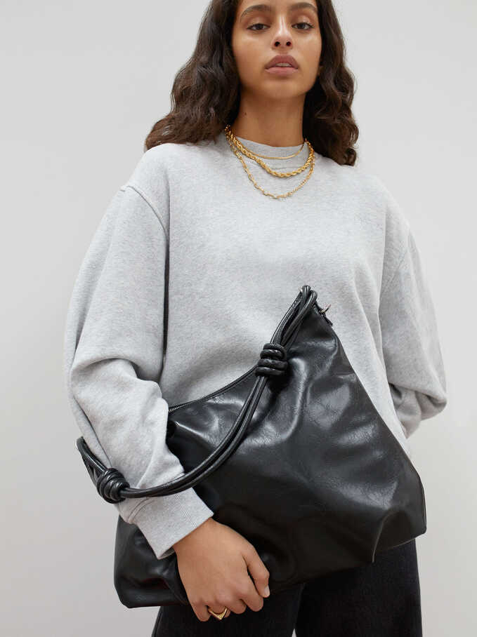 Handbag With Double Handle, Black, hi-res