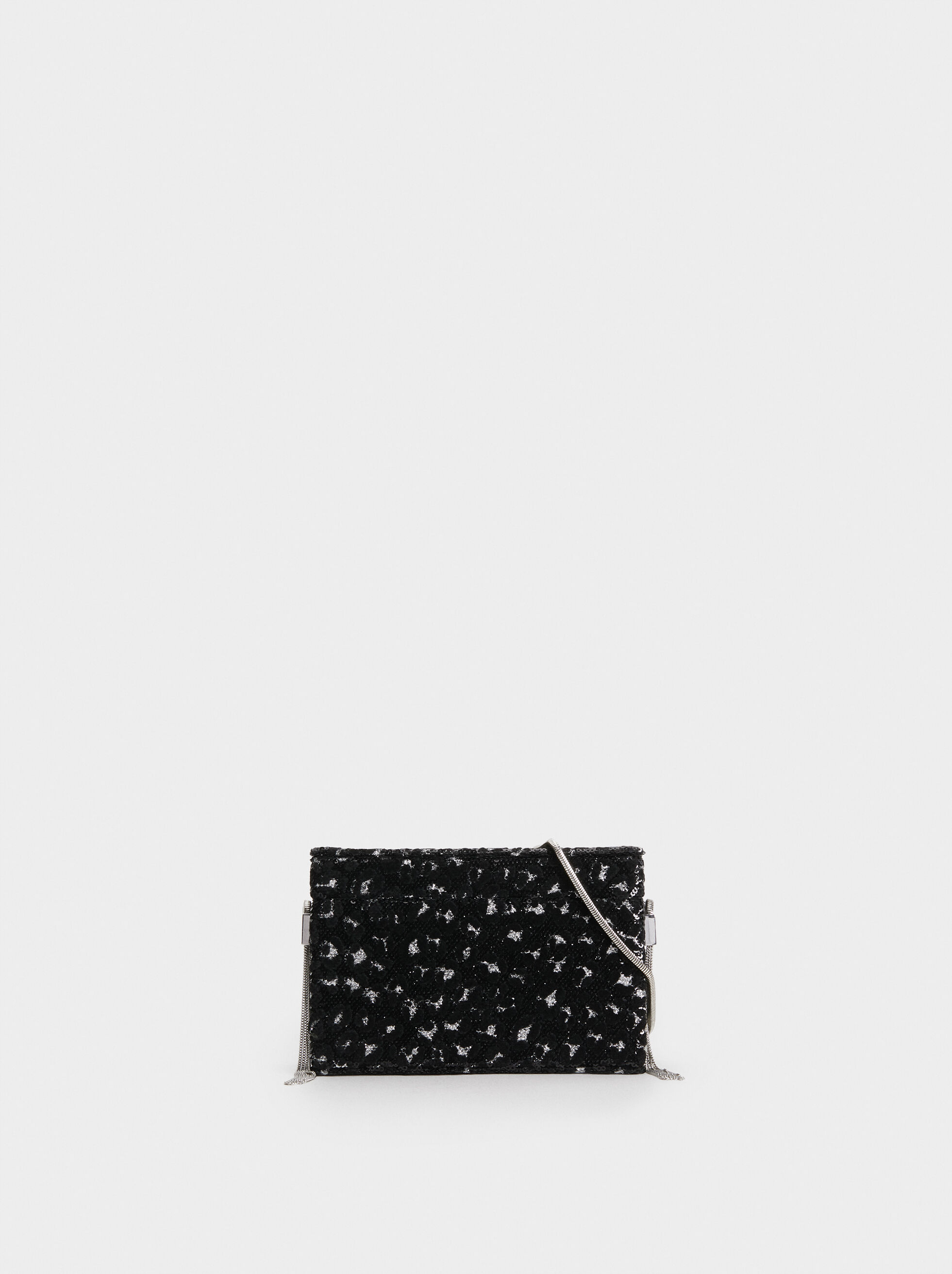 Sequin Party Clutch, Black, hi-res