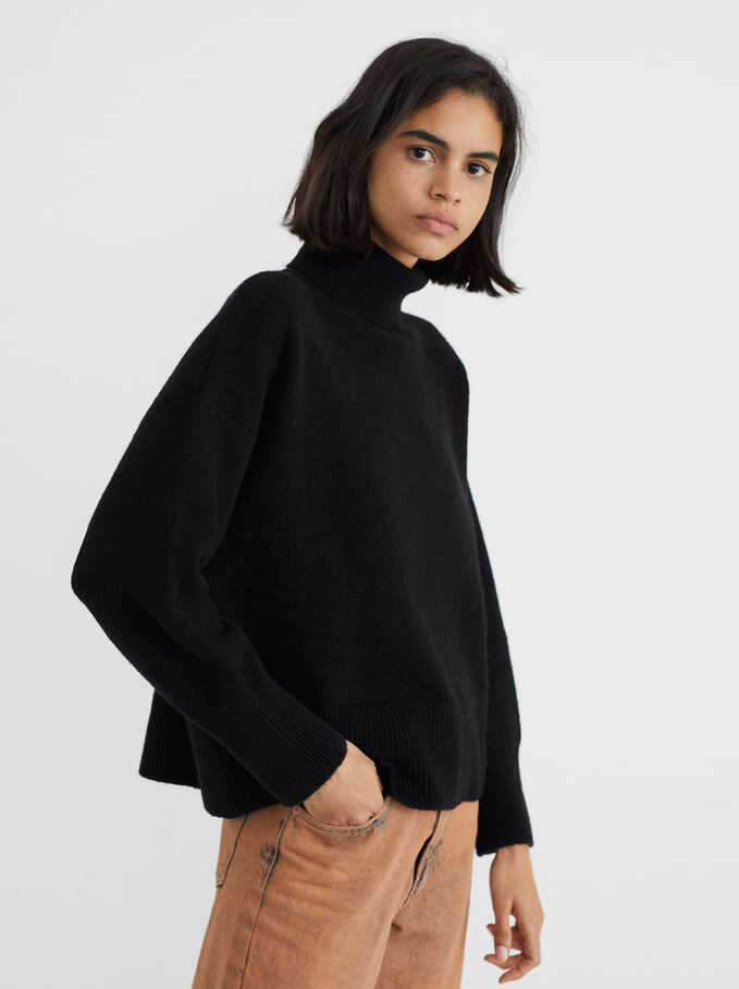 Knitted High Neck Sweater, Black, hi-res