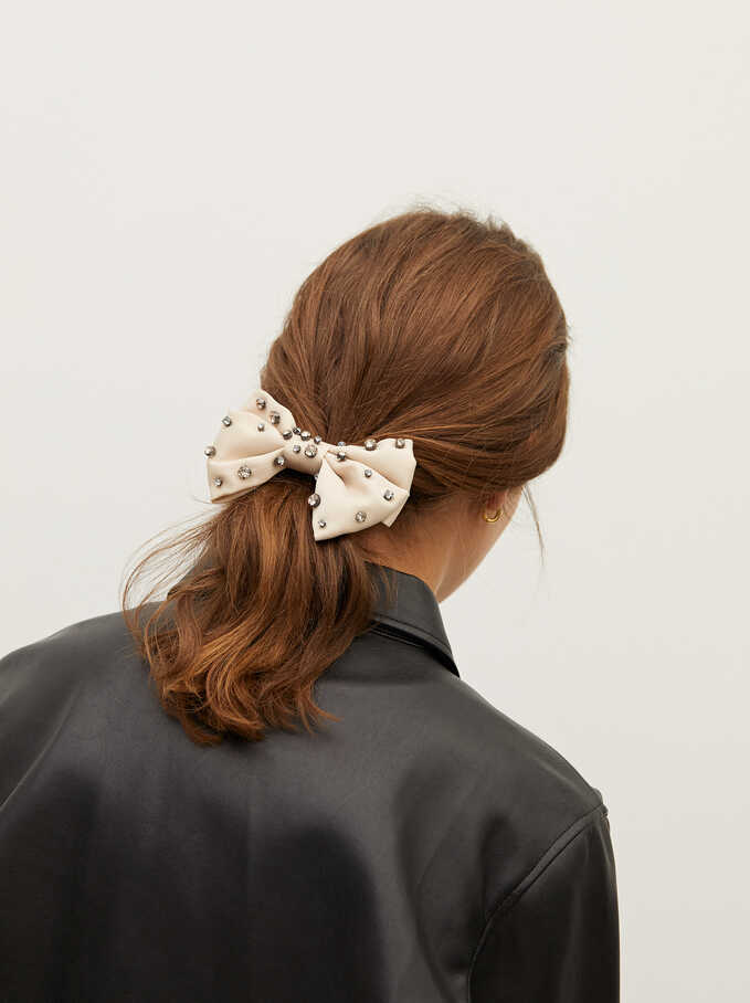 Bow Hairclip With Gems, Beige, hi-res