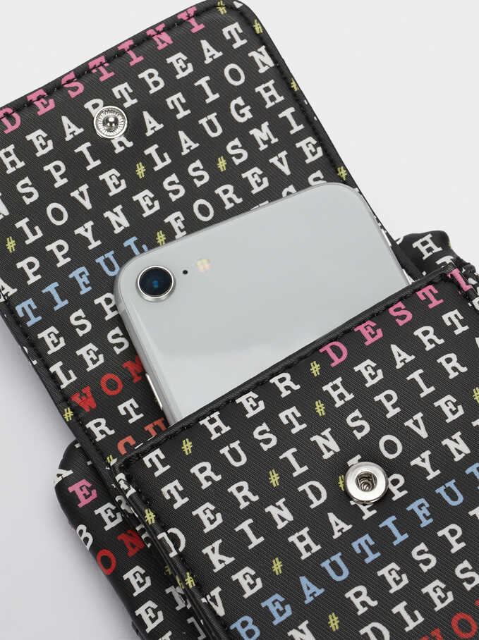Printed Phone Case With Crossbody Strap, Black, hi-res