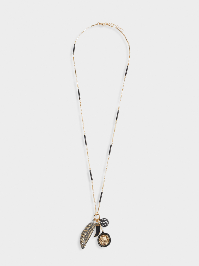 Long Necklace With Charms, Black, hi-res
