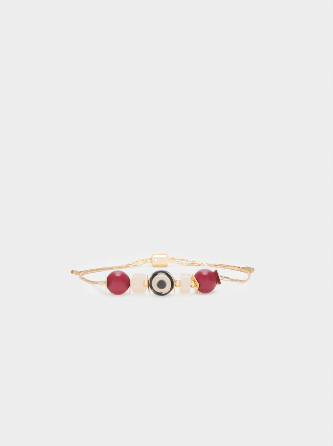 Adjustable Bracelet With Multicoloured Stone And Eye, Multicolor, hi-res
