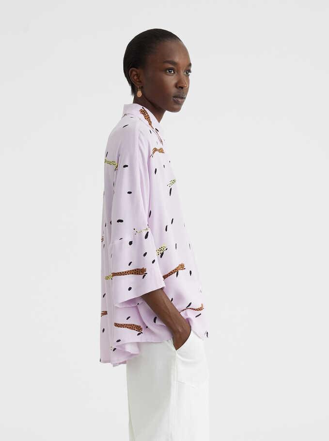 Printed Oversized Shirt, Purple, hi-res