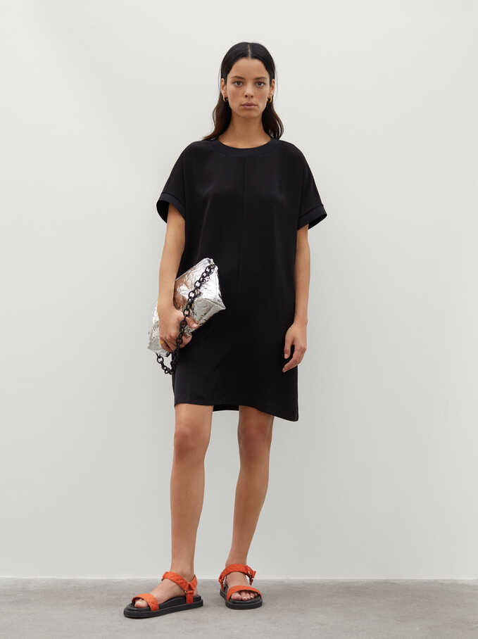 Plain Dress With Round Neck And Short Sleeve, Black, hi-res