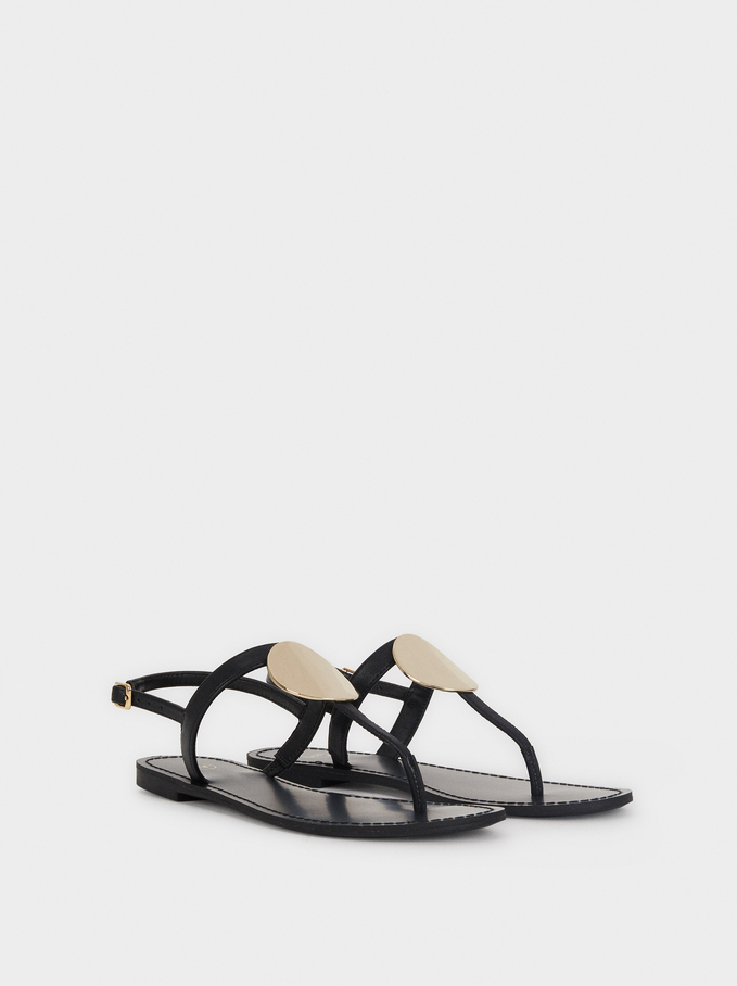 Flat Sandals With Metallic Detail, Black, hi-res
