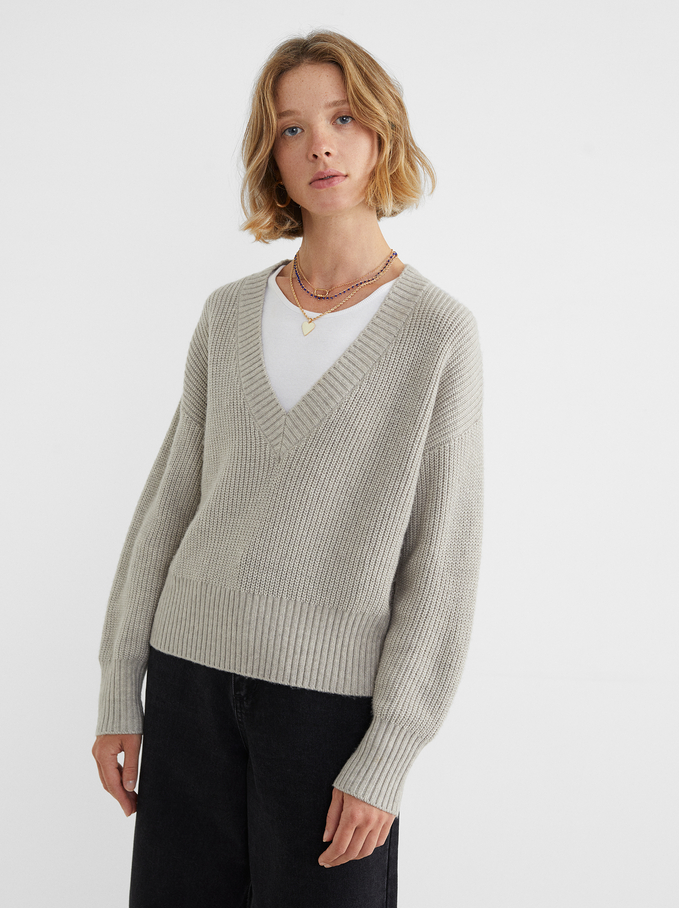 V-Neck Knit Sweater, Grey, hi-res