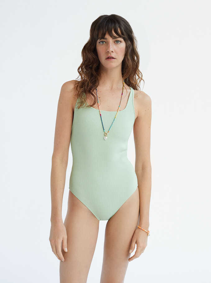 Limited Edition Plain Bathing Suit, Green, hi-res