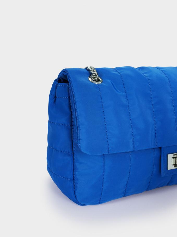 Mala De Tiracolo Acolchoada De Nylon, Azul, hi-res