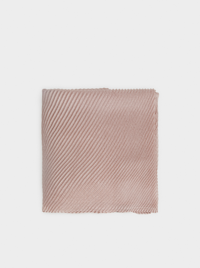 Pleated Scarf, Pink, hi-res