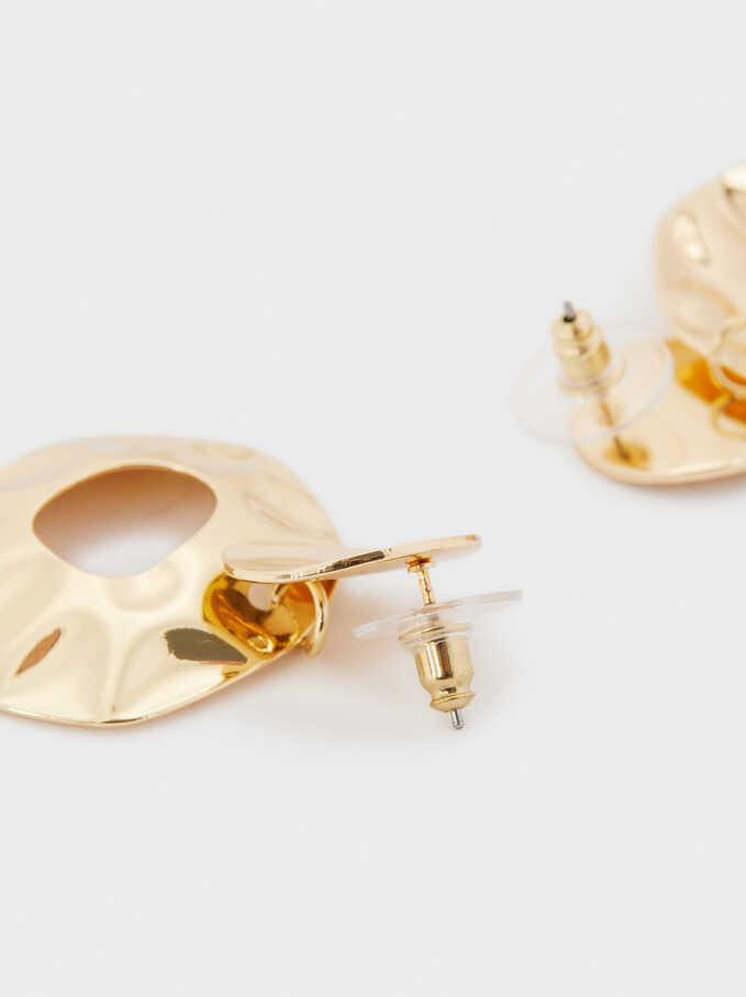 Gold Irregular Earrings, Golden, hi-res