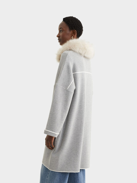 Knit Jacket With Removable Faux Fur Trim, Grey, hi-res