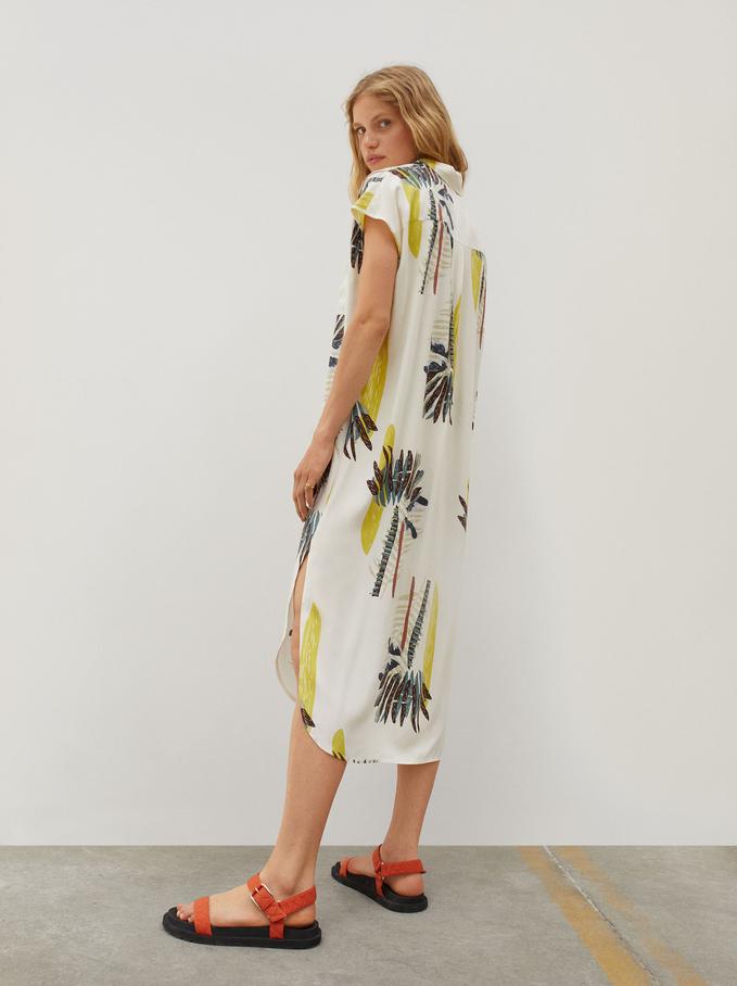 Palm-Print Shirt Dress, Ecru, hi-res