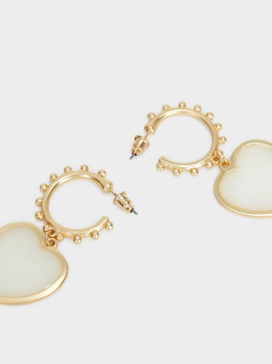 Bubbles Medium Hoop Earrings, Beige, hi-res