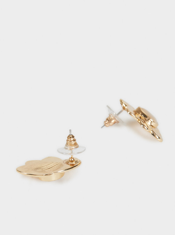 Short Earrings With Stone, Golden, hi-res