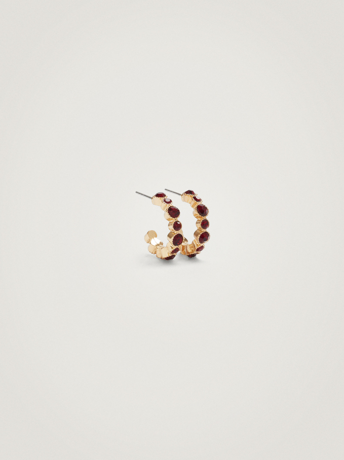 Small Hoop Earrings With Crystals, Bordeaux, hi-res