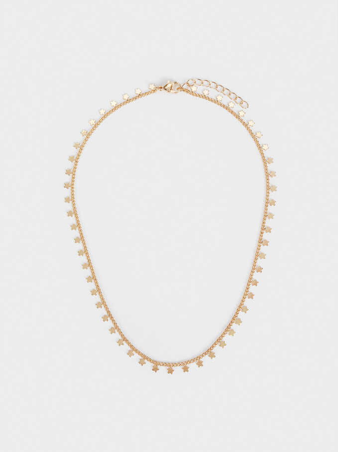 Short Necklace With Stars, Golden, hi-res