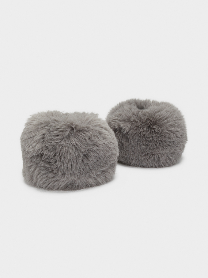 Faux Fur Cuffs, Grey, hi-res