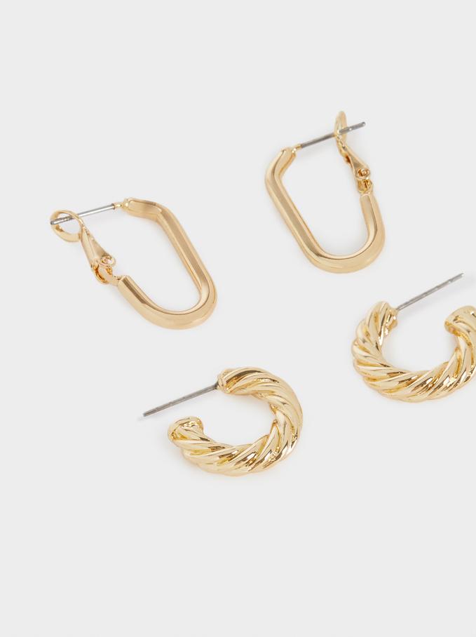 Set Of Golden Hoop Earrings With Raised Effect, Golden, hi-res