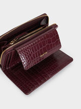 Animal Embossing Medium Purse, Bordeaux, hi-res