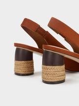 Suede Texture Kitten Heel Shoes, Camel, hi-res