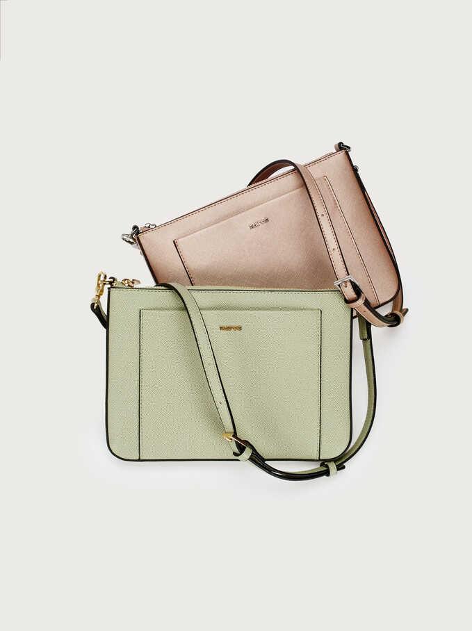Shoulder Bag With Outer Pocket, Green, hi-res