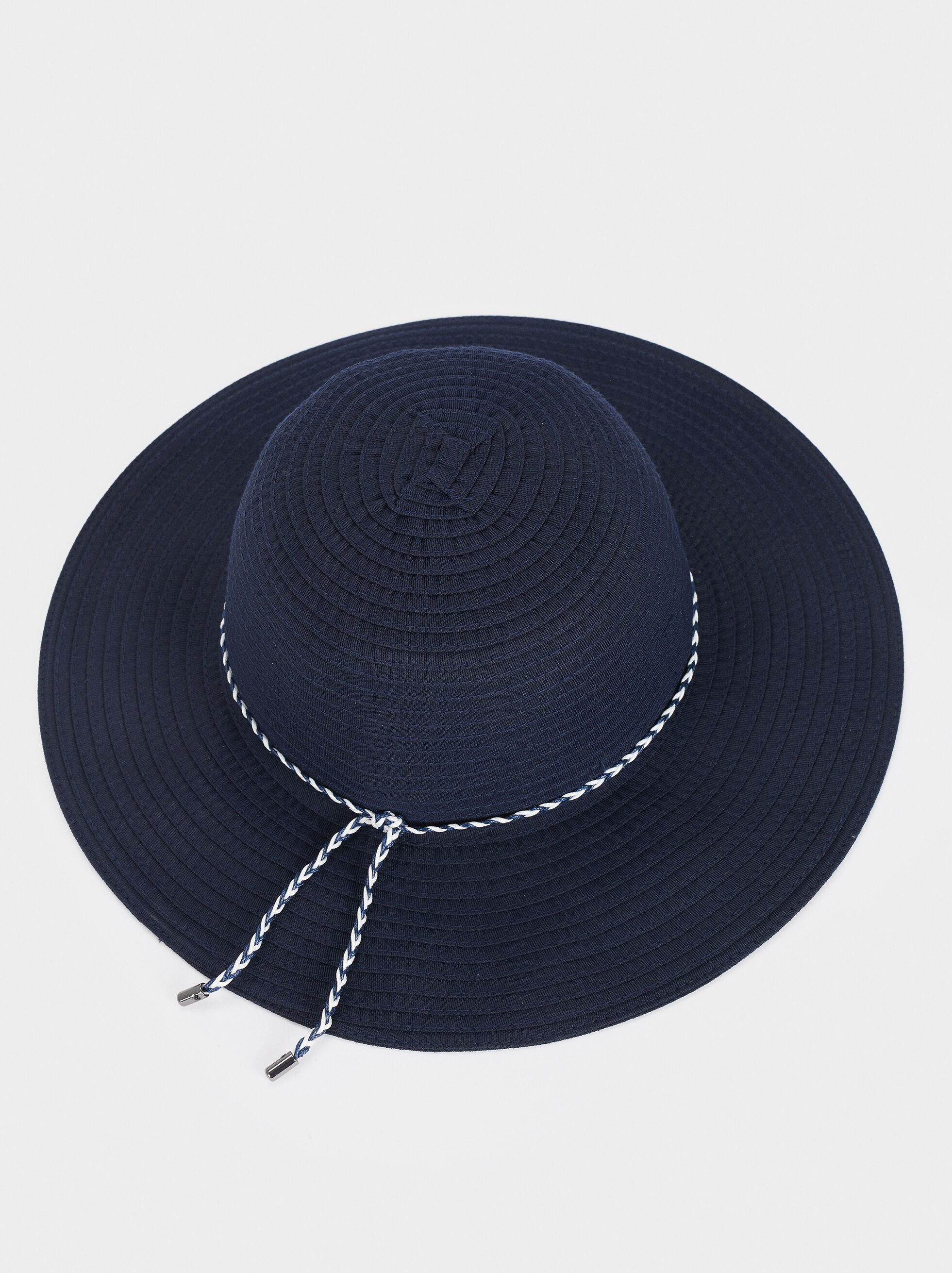 Hat With Matching Ribbon, Navy, hi-res