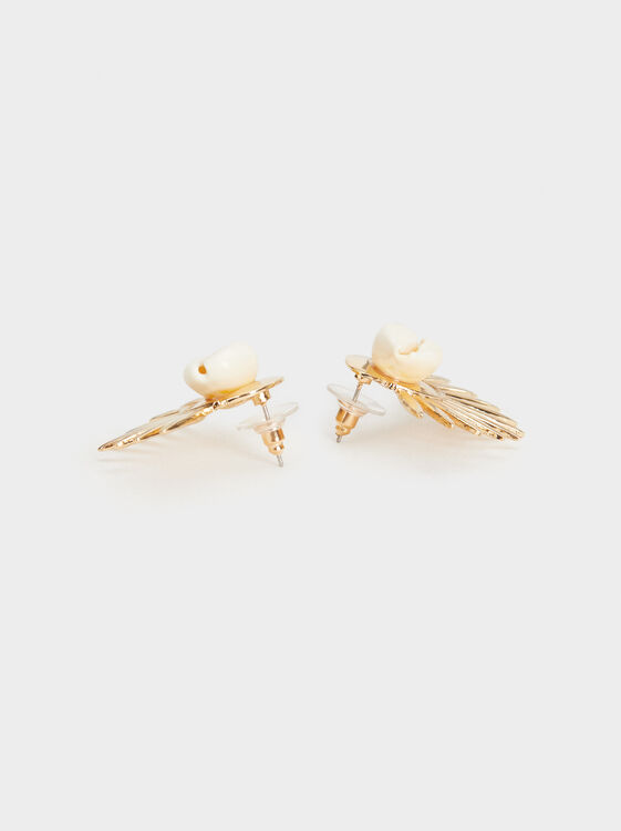 Golden Basics Seashell Studs, Golden, hi-res