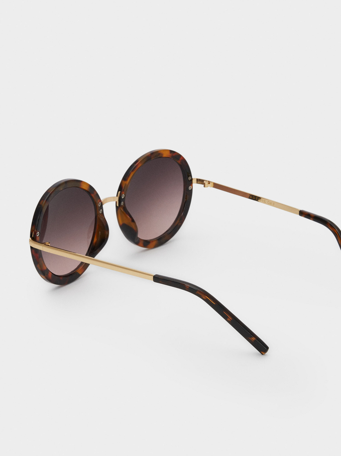 Sunglasses With Round Resin Frames , Brown, hi-res