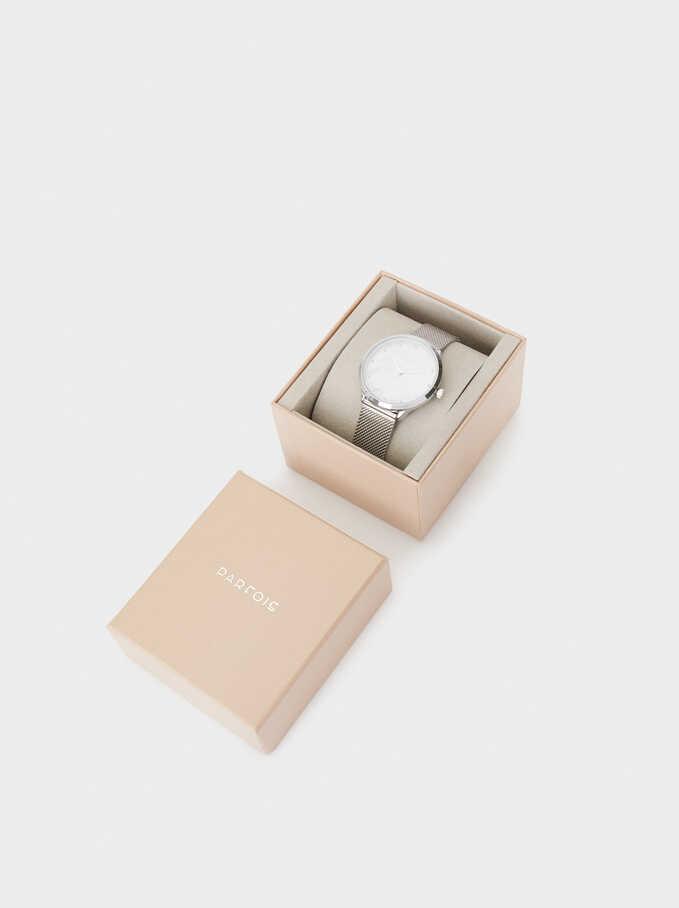 Reloj Esfera Marmoleada, Plateado, hi-res