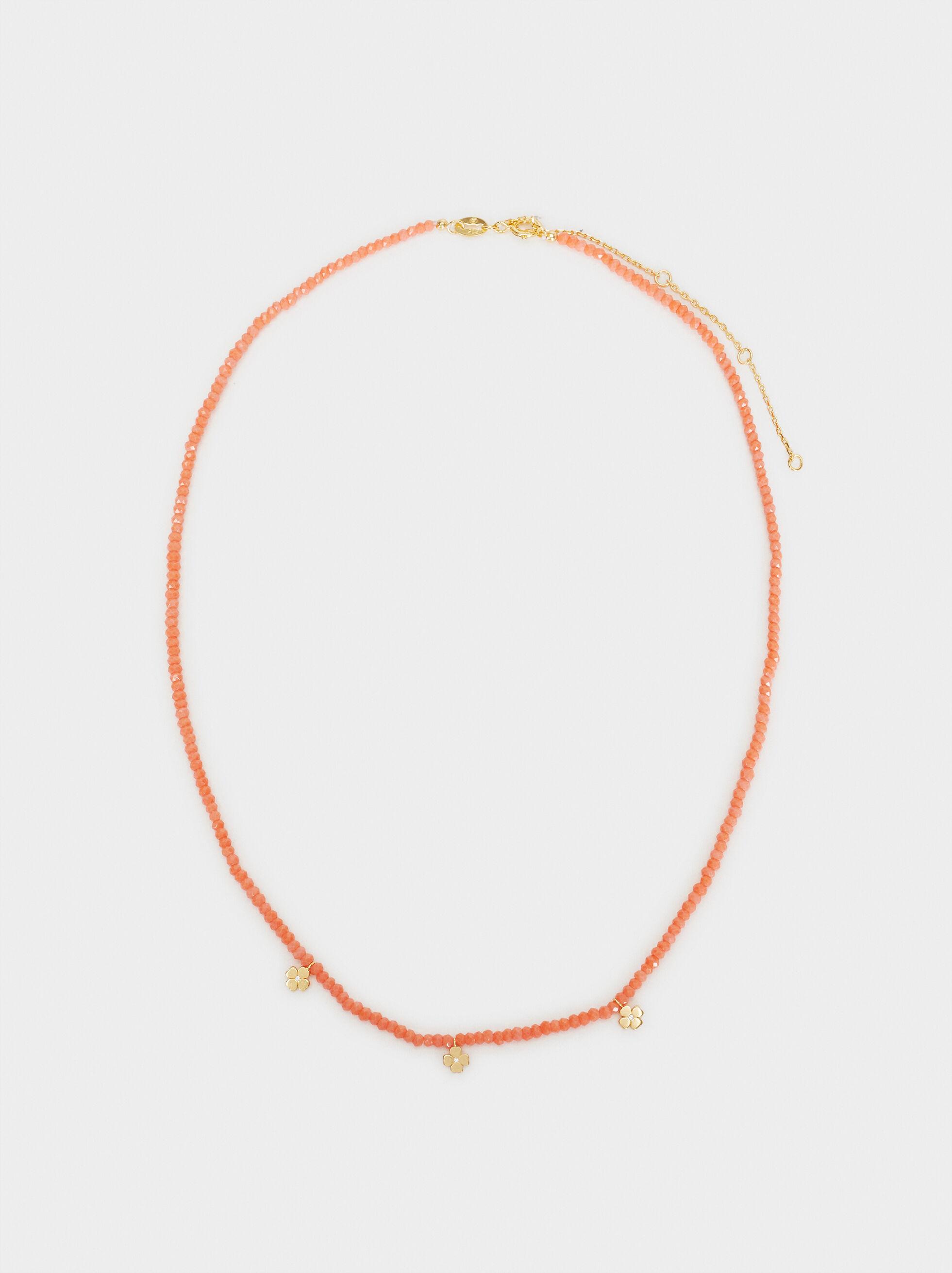 Collar Corto Plata 925 Abalorios, Coral, hi-res