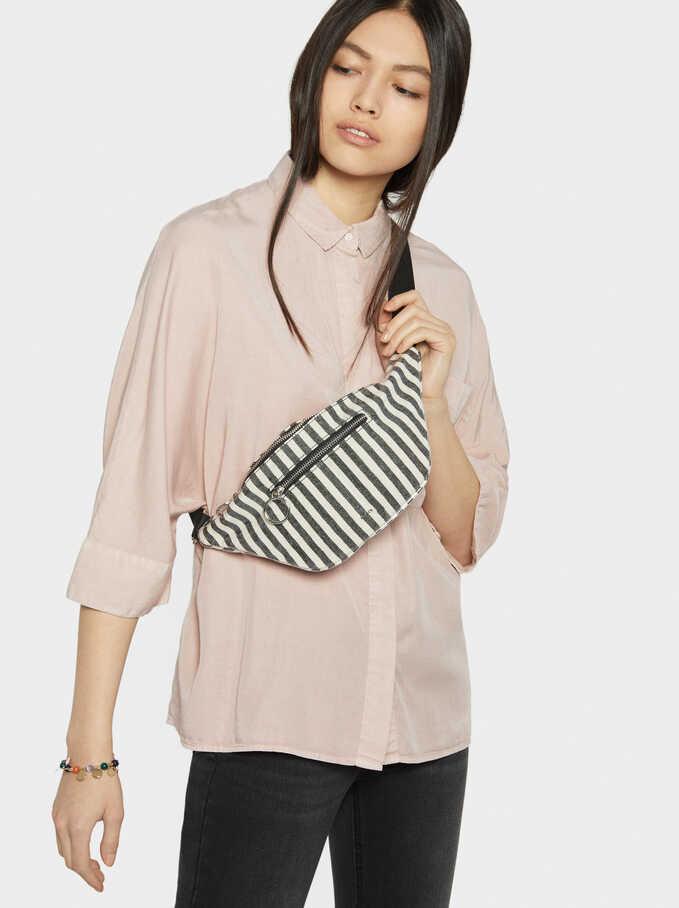 Vinyl Striped Fabric Belt Bag, Beige, hi-res