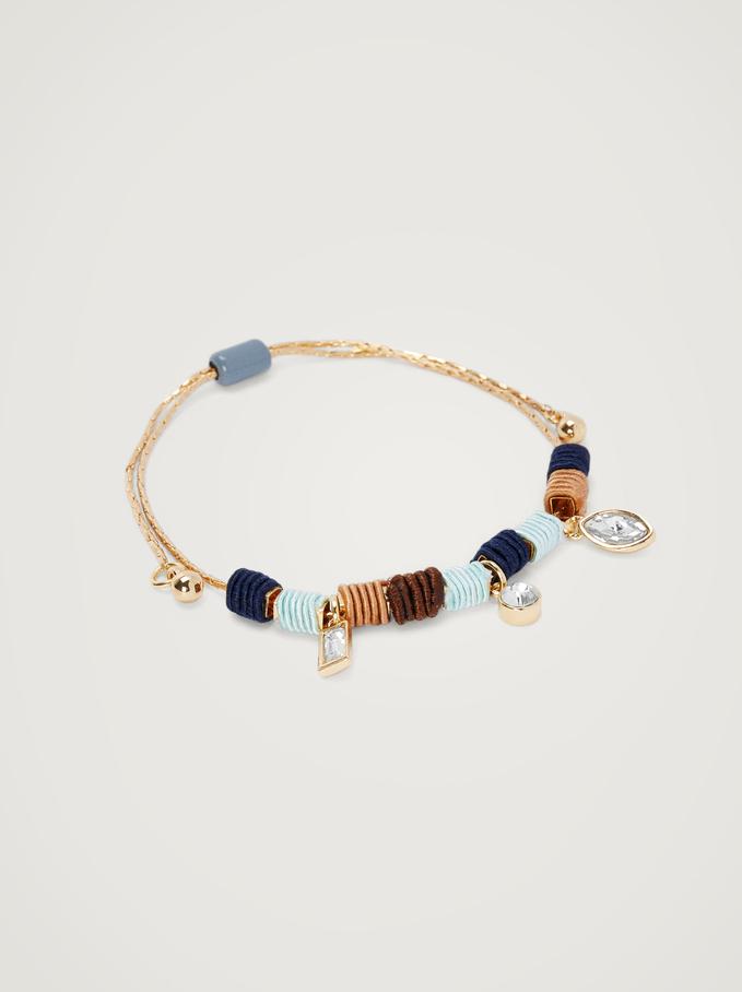 Bracelet Réglable Avec Pendentifs, Multicolore, hi-res