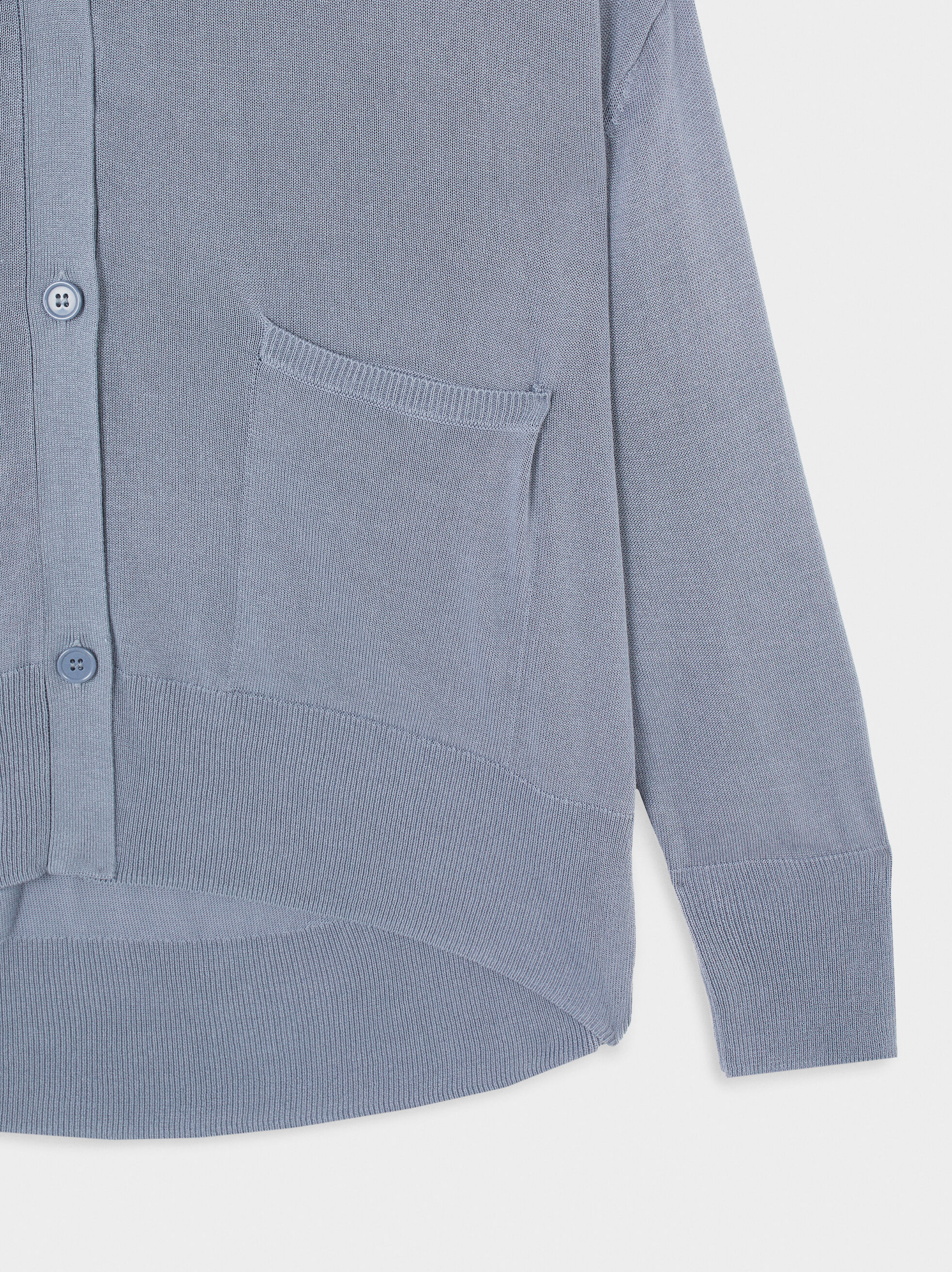 Knitted Cardigan With Pockets, Blue, hi-res