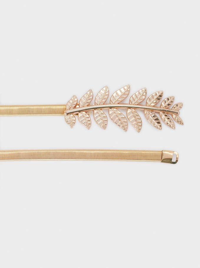 Belt With Metal Leaf Buckle, Golden, hi-res