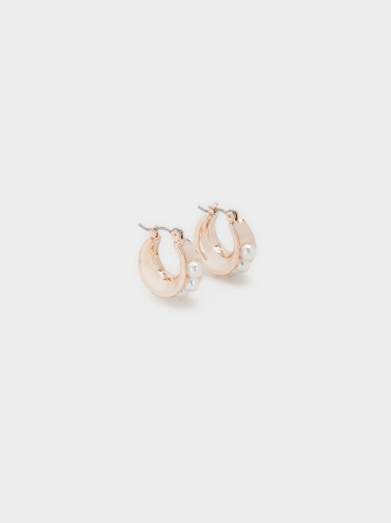 Pink Desert Short Hoop Earrings With Pearls, Orange, hi-res