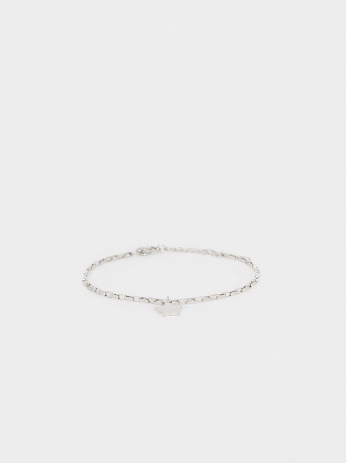 Silver-Toned Steel Bracelet With Star Charm, Silver, hi-res
