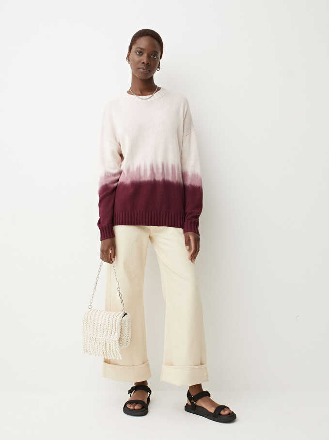 Limited Edition Round-Neck Knit Sweater, Bordeaux, hi-res