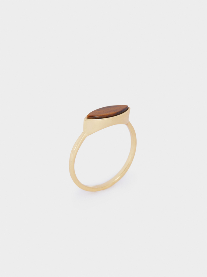 Silver 925 Ring With Stone, Brown, hi-res