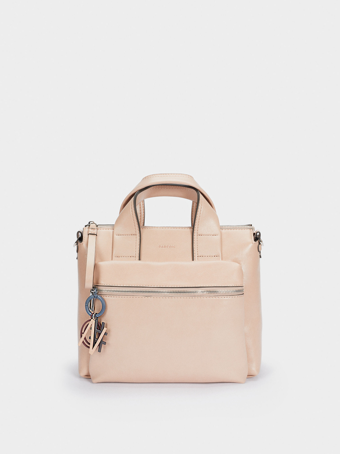 Tote Bag With Detachable Handle, Pink, hi-res