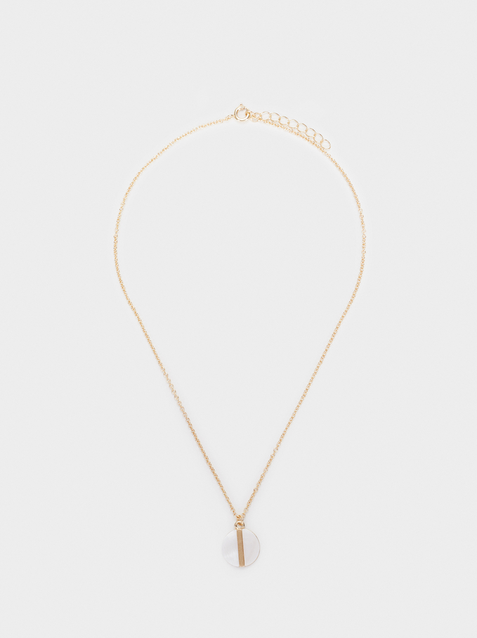 Short Necklace With Mother-Of-Pearl Pendant, Golden, hi-res
