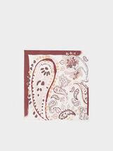 Paisley Print Square Scarf, Ecru, hi-res